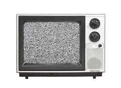 1980's portable television set with static isolated Stock Photos