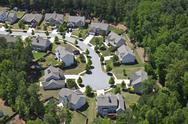 Modern middle class suburbia aerial eastern usa Stock Photos