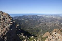 Point mugu peak and channel islands in california Stock Photos