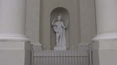 Historical cathedral religious sculpture in niche Stock Footage