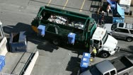Stock Video Footage of Recycle garbage truck picks up containers 2