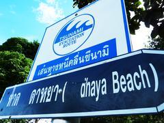 Tsunami evacuation route sign in Thailand - stock photo