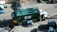 Stock Video Footage of Recycle garbage truck picks up containers