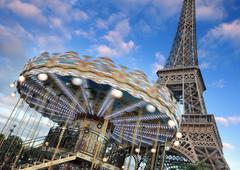 roundabout and Eiffel tower. - stock photo