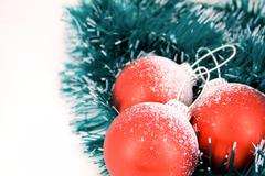 Christmas balls over decorative ribbon Stock Photos