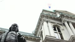 Benjamin Franklin Statue in front of Old City Hall in Boston - stock footage