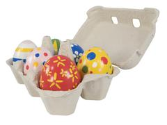 Stock Photo of real hand painted easter eggs in egg box