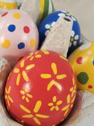 Stock Photo of real hand painted easter eggs in box