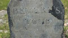 Closeup of Paul Revere's gravestone Stock Footage