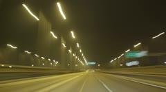 Street Car Racing Night Tunnel Stock Footage