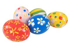 Stock Photo of real hand painted easter eggs