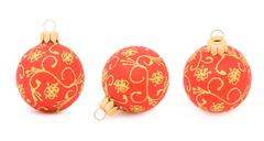 three views of a christmas ball isolated on white - stock photo