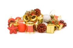 Various ornament for the christmas isolated on white Stock Photos