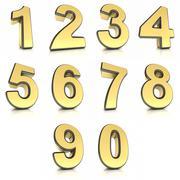 Stock Illustration of Metal numbers set