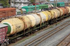 asettaa tankit öljyn ja polttoaineen rautatie - stock photo