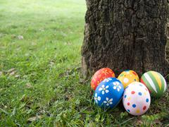 easter eggs hidden behind a tree trunk - stock photo