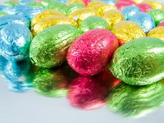Chocolate eggs. Traditional Easter sweet. Stock Photos