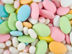 Sugar covered almonds. traditional easter sweet. Stock Photos