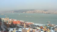 Bosporus in winter sunset Stock Footage
