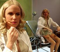 Helena Sandström & Niclas Pajala in the theater play Dragana Stock Photos