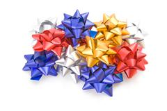 Collection of gift bows isolated on white background. Stock Photos