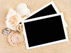 Pictures in a beach concept. vacation memories.. Stock Photos
