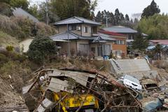Destruction Layer Japan Tsunami Stock Photos