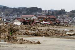 Japan Tsunami Destruction of Town Stock Photos