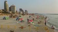 Tel Aviv beach time lapse tilt shift lens look Stock Footage