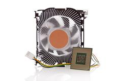 cpu and cpu cooler isolated on a white background - stock photo