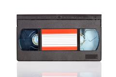 Old video cassette tape isolated on white background Stock Photos