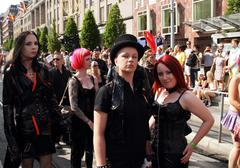 Goth couple pose at Stockholm gay pride parade Stock Photos