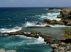 breathtaking view of north point cliffs, barbados - stock photo
