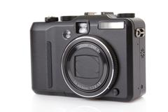 black digital compact camera isolated on white - stock photo