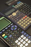 set of various scientific calculators. - stock photo