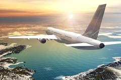 Scenic airliner flight in sunset Stock Illustration