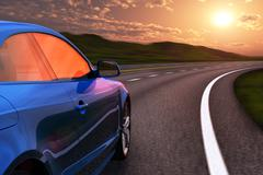 Blue car driving by autobahn in sunset with motion blur - stock illustration