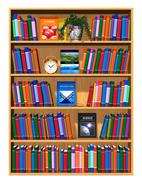 Wooden bookcase with lot of color books - stock illustration
