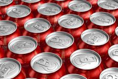 Macro of metal cans with refreshing drinks - stock illustration