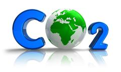 Atmospheric pollution concept: CO2 formula with earth globe - stock illustration