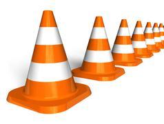 Row of traffic cones Stock Illustration
