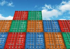 Stacked color cargo containers over the blue sky Stock Illustration