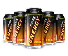 Energy drinks in metal cans Stock Illustration