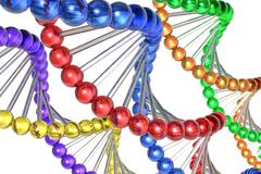Color DNA molecules - stock illustration
