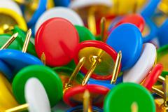 Macro view of color pushpins Stock Illustration