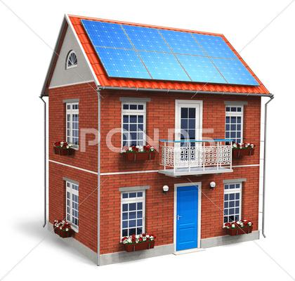 Stock Illustration of Residential house with solar batteries on the roof