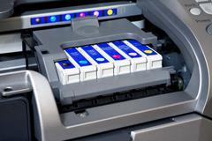 Ink cartridges in printer Stock Illustration