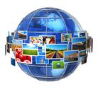 Telecommunication and media technologies concept Stock Illustration