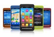 Set of touchscreen smartphones Stock Illustration