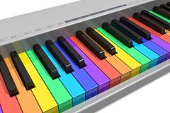 Rainbow piano keyboard - stock illustration